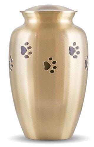 Best Friend Services Ottillie Paws Series Pet Urn Brass with Horizontal Black Paws (Large)