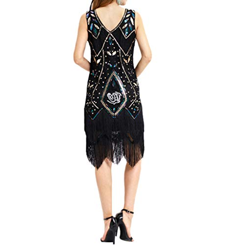 Nero Perlina Sera Frangia Partito Donna Formale Pizzo Deelin Abito Flapper Dress Vintage Cocktail Da Paillettes Prom wnk0OP