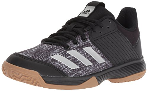 adidas Unisex Ligra 6 Volleyball Shoe, Black/Silver Metallic/White, 1 M US Little Kid - Kids Volleyball Shoes