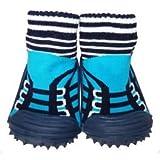 C2BB - Zapatillas-calcetines bebé niño antideslizantes suela flexible para niños | Zapatillas de deporte azul turqués - Tamaño 19