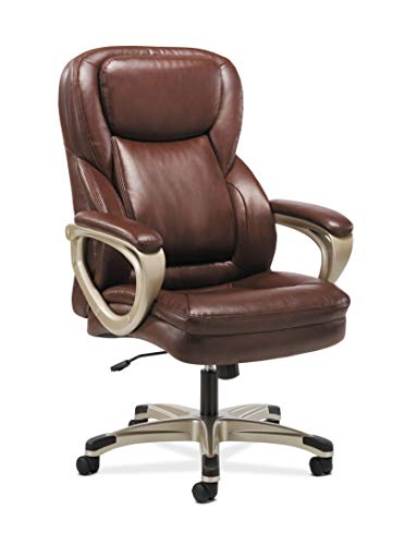 (Sadie Executive Computer Chair- Fixed Arms for Office Desk, Brown Leather)