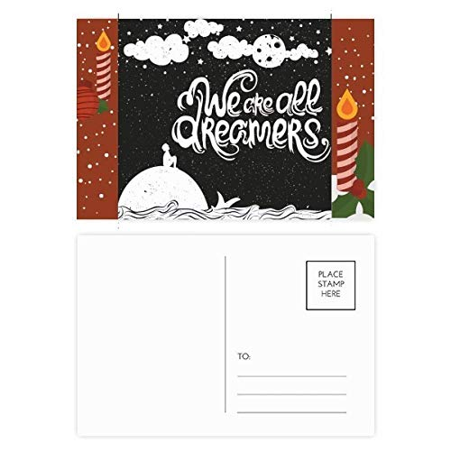We Are Dreamers Black White Quote Christmas Candle Postcard Thanks Card Mailing 20pcs ()