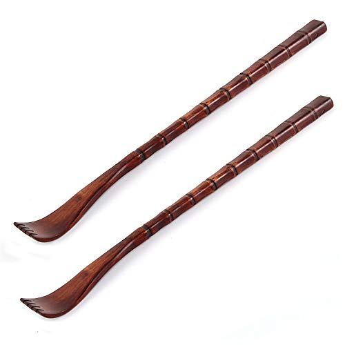 (2 Pack Extra Long Wooden Back Scratchers 19 INCH Backscratcher Back Massager, Great Parents Gift by Rely2016 (Square Handle))