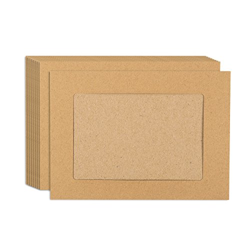 Cardboard Photo Frames (50-Pack Paper Picture Frames - Elegant DIY Kraft Paper Photo Mats - Perfect for Displaying and Sending Memorable Photos - Holds 4 x 6 Inches Inserts)