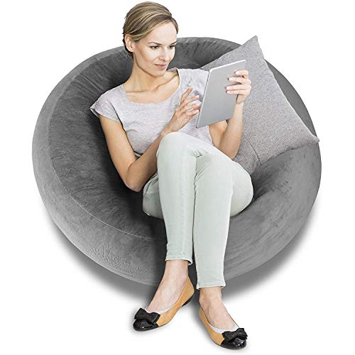 BeanBob Bean Bag Chair (Grey), 4ft - Bedroom Sitting Sack for Kids & Adults w/Super Soft Foam Filling