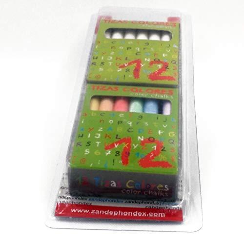 Tizas pack de 2, blancas 12 unidades más colores 12 unidades ...