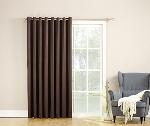 Sun Zero Barrow Energy Efficient Patio Door Curtain Panel, 100″ x 84″, Chocolate Brown