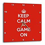 3dRose Gaming - Keep Calm And Game On Red - 13x13 Wall Clock (dpp_261103_2)