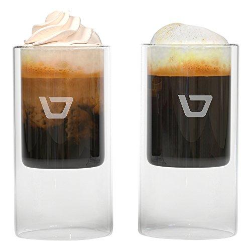 Double-wall espresso glasses (2.5 Ounce) by De Vinezi   Set of 4 insulated mugs for your macchiato, ristretto, or americano