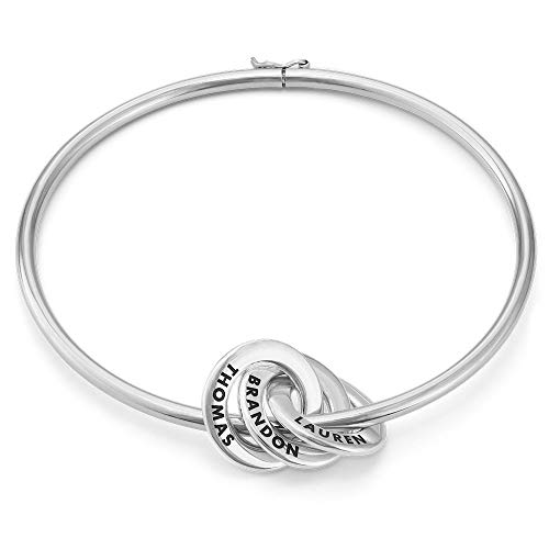 Bangle Silver Ring - MyNameNecklace Personalized 3 Russian Ring Bangle Bracelet - Custom Engraved 925 Sterling Silver Discs