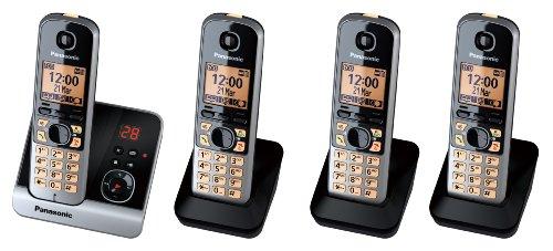 Panasonic KX-TG6724GB Quattro Schnurlostelefone mit 3 zusätzlichen Mobilteilen (4,6 cm (1,8 Zoll) Display, Smart-Taste, Freisprechen, Anrufbeantworter) schwarz