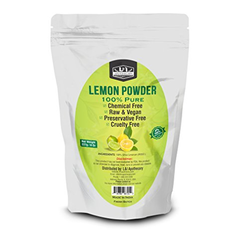 L&I Apothecary 227 Grams / 8 Oz Lemon Peel Powder, 100% Pure & natural. Food Grade Herb for supplements, hair care & skin care