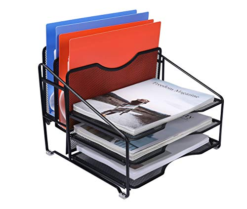 EasyPAG Mesh Desk Organizer Desktop File Holder with 3 Tier Letter Tray and 2 Vertical Compartment,Black by EasyPAG (Image #1)
