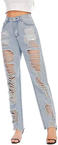 41lWRILLiZL. AC Nother Women's Casual Jeans Torn Distressed Jeans    Material: 80%cotton and 20%polyester. High quality stretchy material can increase the convenience of activity and make it be durable and comfortable to wear all day.Features:Denim fabric for washed effect, it is both stretchy and durable, skinny style jeans with asymmetric distressed details at knee.Design:Slim through hip and thigh shows a perfect body curve. Zipper fly and utility pockets are practically for daily life.Occasion: home casual pants; shopping; holiday; street fashion; daily wear.Contact us:Please contact us,if you are not completely satisfied with the item.We will try our best to solve your problem as early as we can.