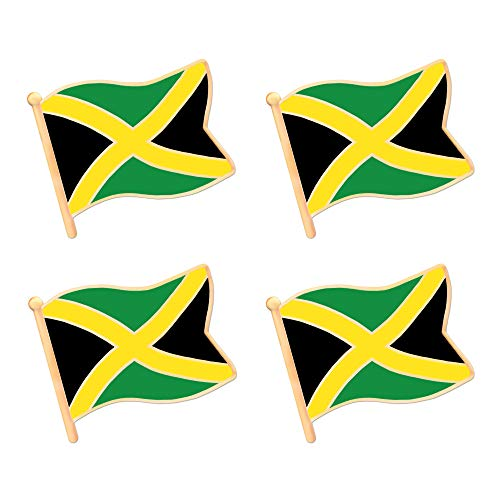 Jamaica Flag Lapel Pin - ALEY Jamaica Jamaican Flag Lapel Pin Decorations (4 Pack)
