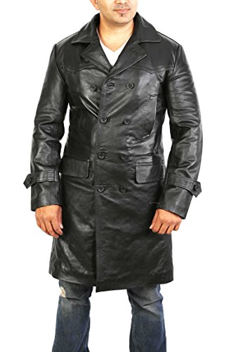 Mens Black Double Breasted Trench Leather 3/4 Long Classic Reefer Overcoat - NEO (Large)