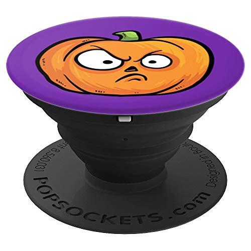 Funny Grumpy Orange Halloween Pumpkin - PopSockets Grip and Stand for Phones and -