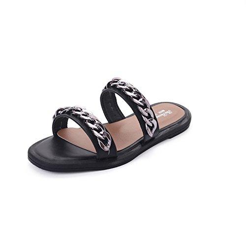 pantofole Argento da sandali rugiada piatta scarpe cool catena spiaggia asolati e di Qingchunhuangtang Estate Sandals wc46q7XvB