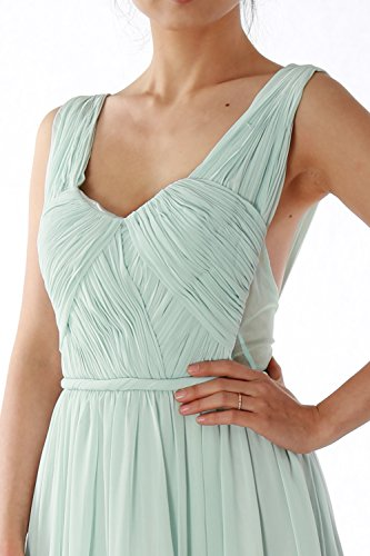 MACloth Women Straps V Neck Chiffon Long Prom Homecoming Dress Formal Party Gown Verde Oscuro