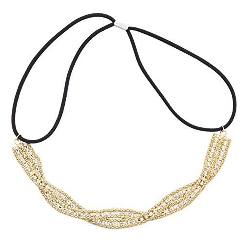 Lux Accessories Goldtone Braided Mesh Crystal Rhinestone Stretch Headband