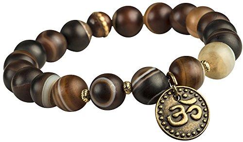 Tribe Azure Fair Trade Brazilian Agate Gemstone Stretch Bracelet Om Charm Beaded Yoga Healing Round Women Grounding Stone Protection (7)