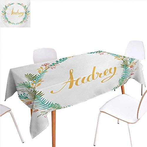 Silver Signature Basketball (familytaste Audrey Patterned Tablecloth Retro Style Arrangement with Flourishing Nature Flowers and Leaves Signature Pattern Dust-Proof Oblong Tablecloth 60