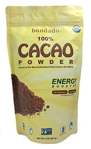 Bondado Cacao Powder, Raw Cacao Powder, The Pure Form of Dark Chocolate, Organic, BPA-free zip lock bag, 6 oz