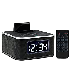 GOgroove (Manufacturer REFURBISHED) Bluetooth Digital Alarm Clock Speaker with FM Radio, Microphone, USB Charging, Tap to Pair NFC & Dual Alarms Phone Dock with Remote Control & Calling