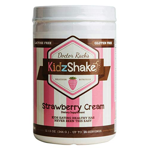 - KidzShake - Kids Strawberry Cream Organic Protein Powder | Nutritional Meal Replacement Shake - Non GMO, Gluten Free, Complete Multivitamin w/Probiotics, 12.13 oz