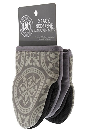 Mini Oven Mitt Set, Pack of 2  Oven Mitts to Protect Hands and Surfaces - Kitchen Essentials Ideal for Cooking, Baking - Heat Resistant to 500F - Cotton w/Neoprene Silicone for Easy Grip