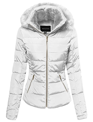 Made by Emma Quilted Puffer Jacket With Detachable Faux Fur Hood White S (Puffer Women Jacket)