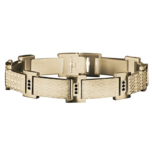 Daniel Steiger Rafferty Steel Men's Bracelet - 18k Gold Plated Stainless Steel - Intricate Embossed Pattern - Set with 27 Black Crystals - 8.5