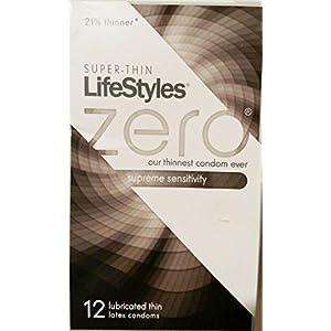 Super-thin LifeStyles Zero Supreme Sensitivity Latex Condoms 12 ct