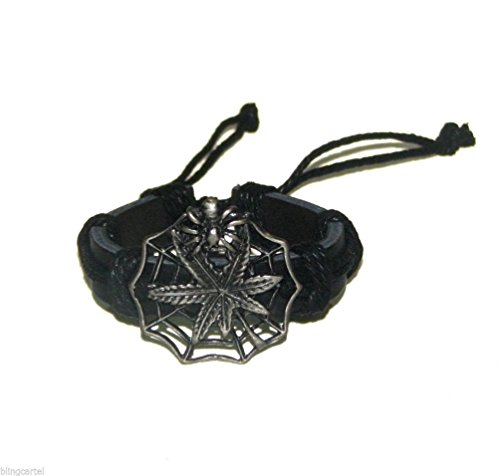 Dancing Stone Marijuana Leaf Spiderweb Bblack Leather Pot Mens & Womens Spider Weed Bracelet (Spiderweb Rhinestone Necklace)