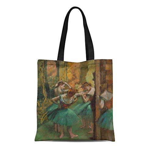 (Semtomn Canvas Tote Bag Shoulder Bags Dancers Pink and Green By Edgar Degas 1890 French Women's Handle Shoulder Tote Shopper Handbag)