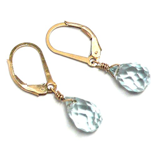 Lab Grown Aqua Quartz 10x6 Briolette Lever Back Earrings Gold-Filled