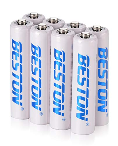 BESTON Rechargeable AAA Triple A Batteries with High Capacity 800mAh for Garden Solar Light Remote Control Radios Electric Toy Battery and More (8 Pack 800mAh)