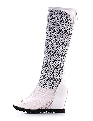 Aisun Women's Sexy Laces Hollow Out Peep Toe Hidden Wedge Heighten Under Knee High Sandals Shoes White