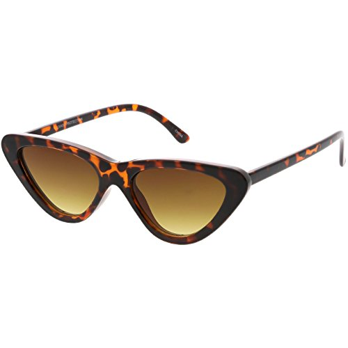 sunglassLA - Women's Small Thick Cat Eye Sunglasses Neutral Colored Flat Lens 51mm (Tortoise / - Colored Glasses Tortoise