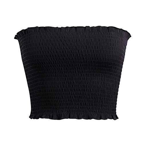 Women's Strapless Pleated Sexy Tube Crop Tops