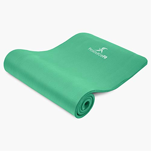 """ProsourceFit Extra Thick Yoga and Pilates Mat ½"""" (13mm), 71-inch Long High Density Exercise Mat with Comfort Foam and Carrying Strap, Green"""