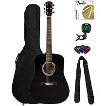 Fender FA-100 Dreadnought Acoustic Guitar - Black Bundle with Gig Bag, Tuner, Strings, Strap, and Picks