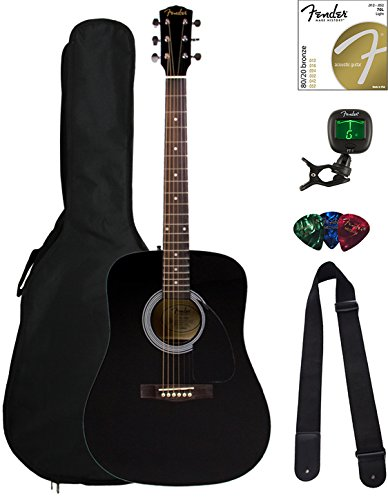Fender FA-100 Dreadnought Acoustic Guitar – Black Bundle with Gig Bag, Tuner, Strings, Strap, and Picks