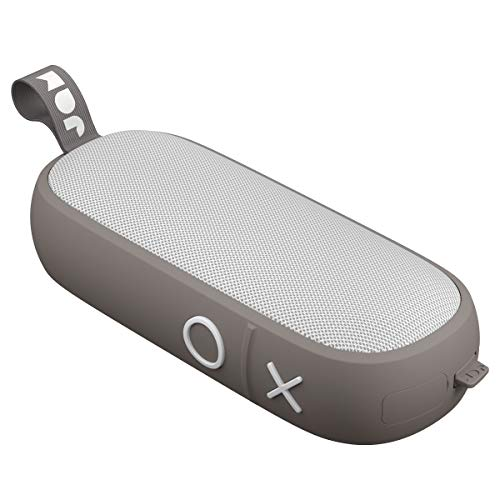 JAM Hang Around, Pairable Waterproof Bluetooth Speaker 100 ft. Range, 20 Hour Playtime, Dust-Proof, Drop-Proof IP67 Rating Built-in Speakerphone, Aux-In Port, USB Charging Gray