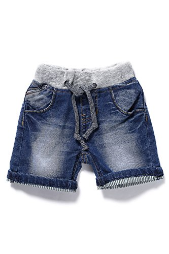 LITTLE-GUEST Baby Boys' Blue Knee-Length Jeans Shorts B201 (24-30 Months, Navy Blue)