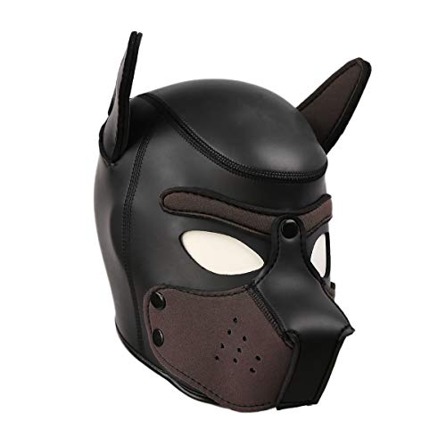 HOT TIME Neoprene Puppy Hood Custom Animal Head Mask Novelty Costume Dog Head Masks (Small, -