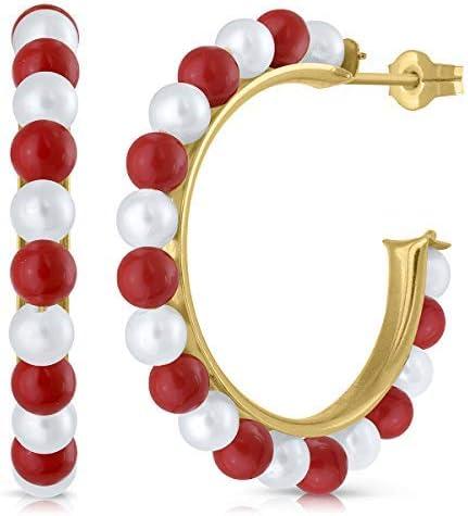 Pendientes oro 18k 9k, niña o mujer, aros argolla con perla cultivada de calidad, coral o turquesa. Medida de la joya 19 milímetros y cierre de presión,