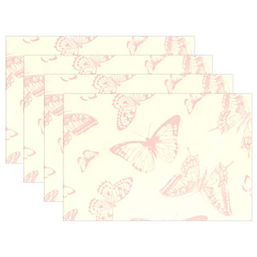 JTMOVING Butterfly Butterflies Vintage Paper Placemats Set Of 4 Heat Insulation Stain Resistant For Dining Table Durable Non-slip Kitchen Table Place Mats -