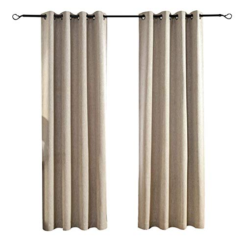 Cheap MYSKY HOME Solid Grommet top Thermal Insulated Faux Linen Window Blackout Curtains for Living Room, 52 by 95 inch, Natural (1 Panel)