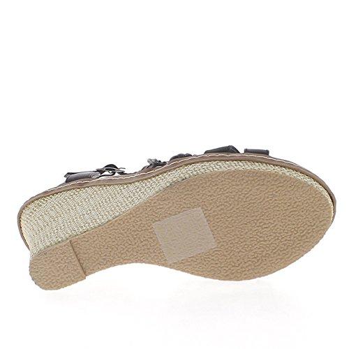 Sandales compensées noires à talon de 10,5cm et plateforme avec strass